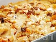 Печено филе от бяла риба с картофи и бял сос на фурна